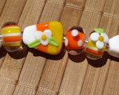 Candy Corn Mixed Set--Handmade LAMPWORK Beads
