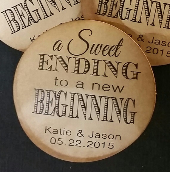 "1.5"" STICKER Sweet Ending to a new Beginning Personalized Wedding Shower Favor STICKER choose your amount sold in sets of 20 STICKERS"