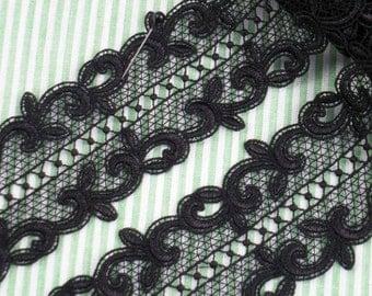 1Y Black Lace Trim 2 Inch wide