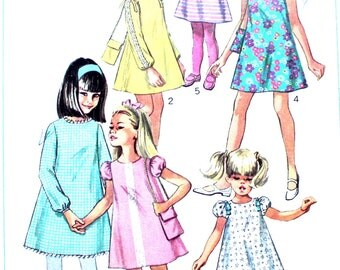 Girl's Puff Sleeved Dress and Purse Size 8 Simplicity 7454