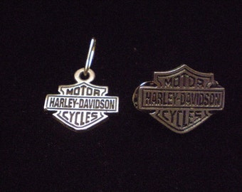 OLD SCHOOL vintage harley davidson pin and zipper pull