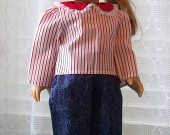 Handmade Doll Pants Set Shirt and Jeans Suit fits 18 inch doll