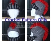 Pattern Only Crochet Knight hat for Mascot or Renascence Medieval Times costume with Mask and Mohawk Newborn Baby Toddler Child Adult sizes
