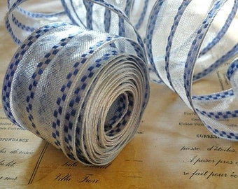 "5 Yards of Blue Checker Striped Wired Ribbon (1.5"")"