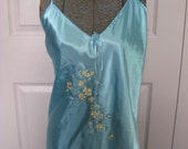 Sexy Nighty  XL . Hand Painted and Beaded Satin Nightgown XL . turquoise nighty
