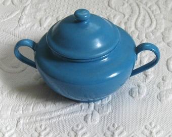 Blue Enamel Sugar Bowl . German Enamel Sugar Bowl . enamel sugar bowl . blue enamel . farmhouse enamel sugar bowl