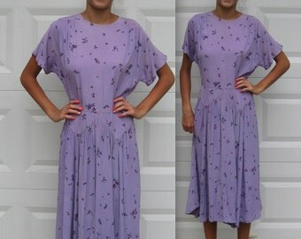 40s dress . violets dress . Purple Silk Crepe dress . Violets on Lilac  . German 40s Dress