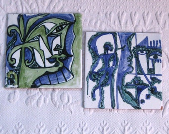 retro tiles . ceramic tiles . Tunisian tiles . lot of 2 . Abstract Art Tiles .   Blue and Green Hand Painted Tiles . Made in Tunisia