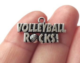 "4 ""VOLLEYBALL ROCKS"" Charms 25x14mm"