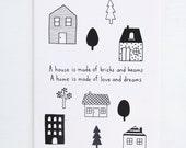 Colouring Card - A House A Home