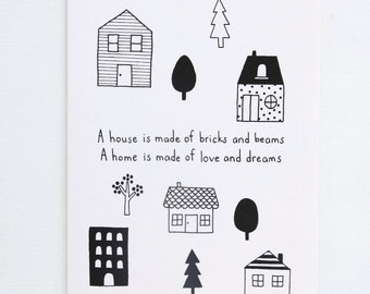 Colouring Card - A House A Home