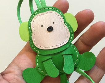 Small size - Kelvin the Monkey cowhide leather charm ( Green  )