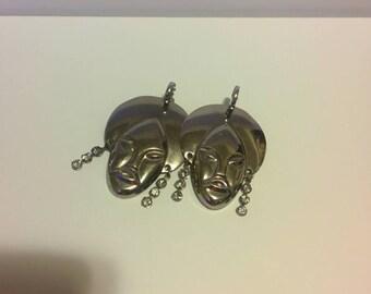 Vintage Silver Dangle Earrings Rhinestone Accent