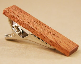 Skinny Tie Clip: African Mahogany tie clip - Free Engraving Available!