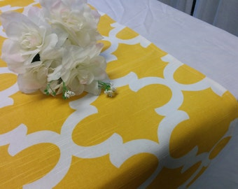 "SAMPLE SALE RUNNER 23""-36"" Yellow and White Moroccan Look Table Runner Wedding Bridal Home Decor Chic Rpst"