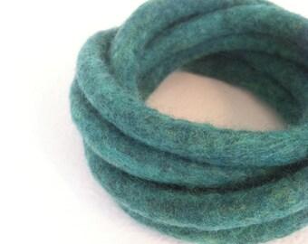 Green Felted Bracelet / Multicolor Bracelet / Modern Bracelet / Yoga / Twisted Felt Collection - Leaf