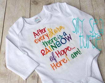 Rainbow baby bodysuit, Rainbow of hope after every storm, miracle baby bodysuit, machine embroidered