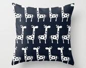 Navy Pillow cover Giraffe Pillow Cover Decorative Pillow Cover Nursery Pillows Size Choice