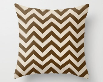 Chevron Pillow Cover Decorative Pillow Brown Pillow Striped Pillow Size Choice Accent Pillow Throw Pillow