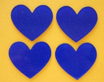 6 pcs Big Acrylic Glitter Heart Plate / Cabochon (40mm45mm) Blue IK146
