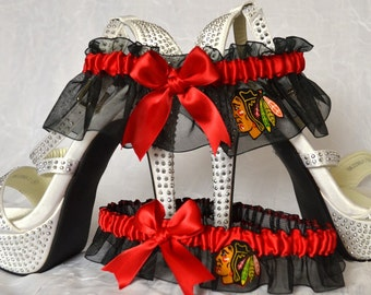 Wedding Garter Set Black Handmade with Chicago Blackhawks fabric