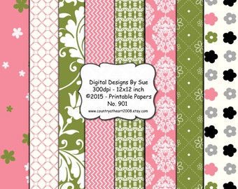 Instant Download  12x12  Paper Pack No. 901 -  Printable Digital Collage Sheet - Digital Download Scrapbooking