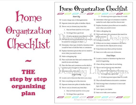 home organization checklist pdf printable basic organizing. Black Bedroom Furniture Sets. Home Design Ideas