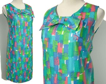 Vintage Modernist Dress 60s Cotton Shift Abstract Print M - NOS