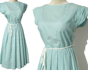 Vintage 70s Summer Dress Turquoise & White Stripes w/ Buttons M