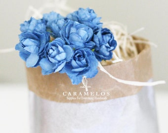 30 Powder Blue Millinery paper flowers