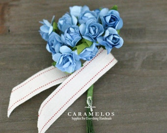 Bulk 144 Miniature Powder Blue Paper Roses