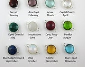 Birthstone Pendant Connector ,Gemstone Pendant -Solid Sterling Silver Charms,Bezel Set, Round Charm-Faceted Coin Shape -20mm ( 2pcs) 209110