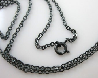 Sterling Silver Necklace -Oxidized Sterling Silver Chain-Strong Flat Cable Chain- Finished Necklace,Long Necklace-30 inches-SKU: 601051-OX