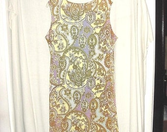 Vintage 60s Mod Sleeveless Dress 40 Large Paisley As Is bch