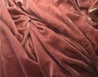 DUSTY ROSE Silk Velvet Fabric 1 Yard