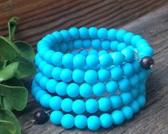 Turqouise Glass Bead Wrap Bracelet