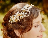 Wedding Headband Bridal floral crown  ALLY , gold, hair vine, crystal, flowers, SALE