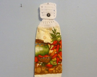 Hanging Kitchen Towel Chillis Hot Peppers Pottery