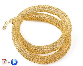 ONLINE Video tutorial for YoolaTube Plus PDF tutorial - how to crochet a wire gold necklace using a crochet hook and  wires