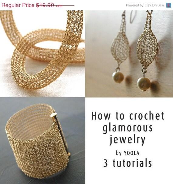 CIJ SALE - How to wire crochet glamorous jewelry tutorials crochet patterns tube necklace pearl drop earrings wide cuff bracelet