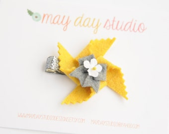 baby toddler girls felt pinwheel alligator hair clip - yellow pinwheel with grey bow barrette - silver glitter clip