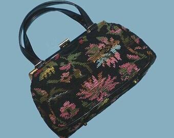 Vintage 60s Black Tapestry Carpet Bag Purse Jaclyn