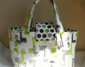 Large Giraffe and Polka Dots Diaper Bag Tote with Upgraded Interior