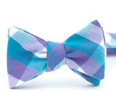 teal & violet buffalo plaid freestyle bow tie
