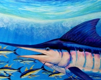 "BLUE MARLIN- Large 22""×36"" Original Acrylic Painting On CanvasSport Fishing Sea Life Modern Art Decoration"
