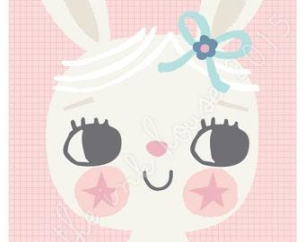 BUNNY PRINT, A4 Bunny Rabbit Illustration, poster, Nursery Room Decor, girls room, Wall Art, kids, children's, pink