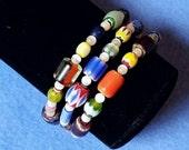 Multicolored Chevron and White Cat's Eye Glass Wrap Bracelet