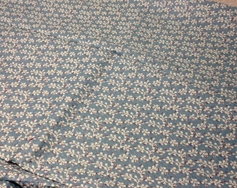 Cotton Pique  Blue Print fabric 45 inches wide, sold by the yard