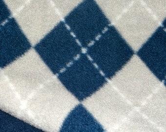 Fleece Blue/Gray Argyle Blanket