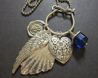 Personalized Necklace, Charm Necklace, Wax Seal Initial, Wing Necklace, Letter, Silver Heart, Silver Charms, Cobalt Blue, Gifts for Her